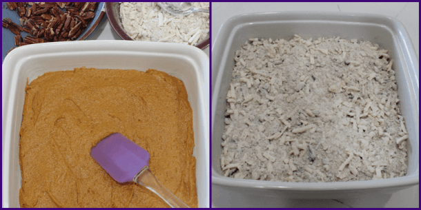 Leveling the cake and evenly spreading streusel topping.