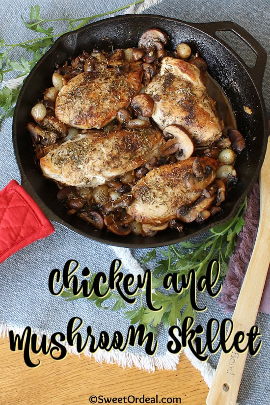 Pearl onions and mushrooms with pan fried chicken breast in a skillet.