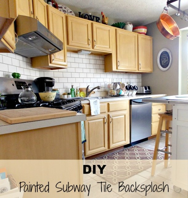 DIY  painted subway tile backsplash