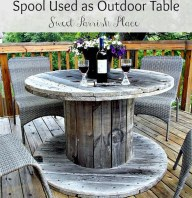 Wooden Spool as Patio Table- Back Deck Tour