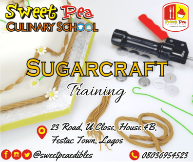 Become a pro cake designer in 3 weeks • Character modeling • Gele & Fila design • Stenciling techniques • Airbrushing techniques • Hand painting on cakes • Sugar fruits(apples, banana, carrots etc) • Sugar flowers (roses, lilies, sunflowers etc) • Edible printing technique • Frills and much more • Class project • Certification • Free-after training consultation