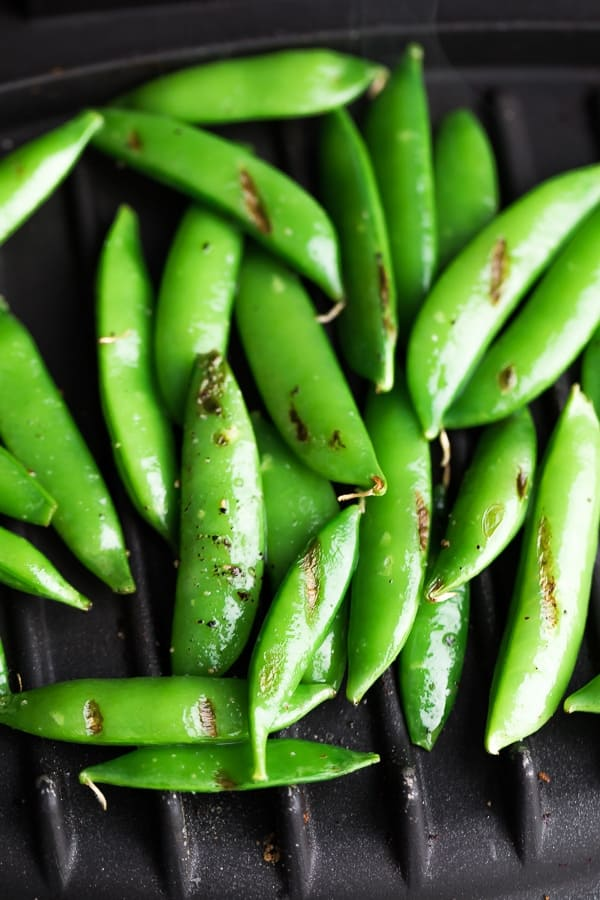 sugar snap peas on the grill