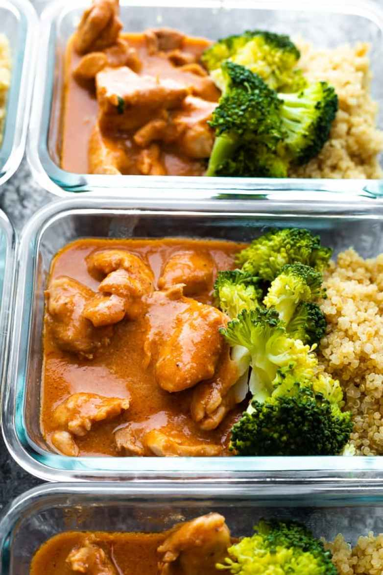 Slow cooker butter chicken meal prep