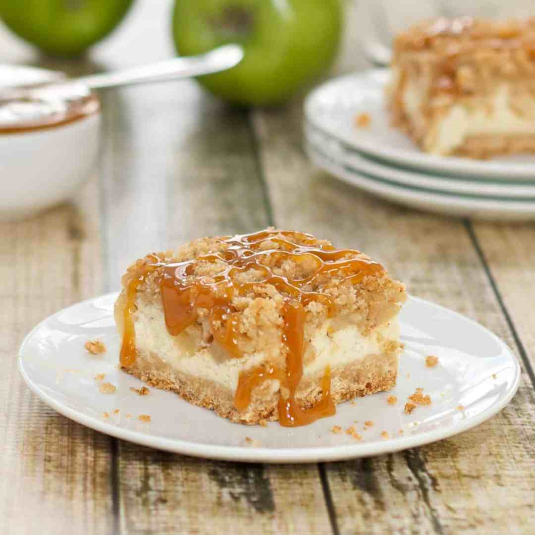 Apple dessert bars on a white plate