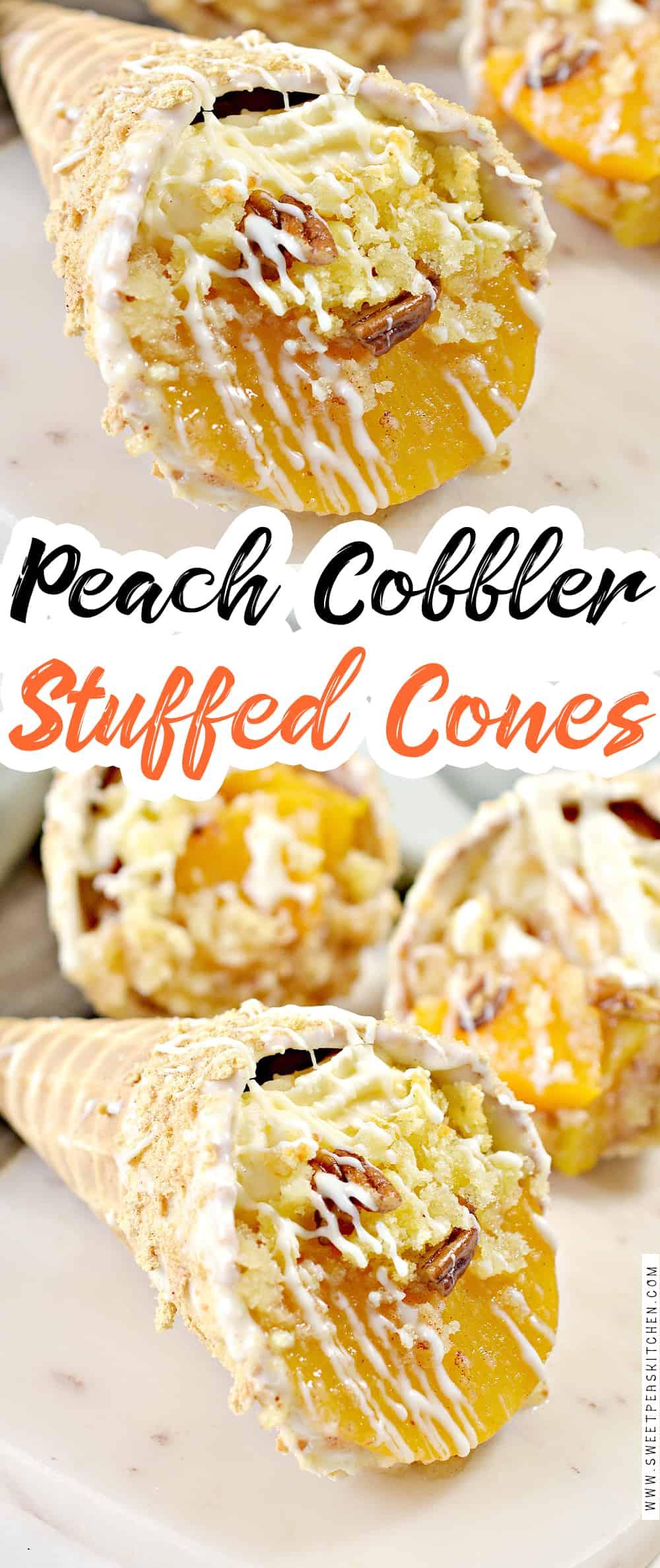 Peach Cobbler Stuffed Cones