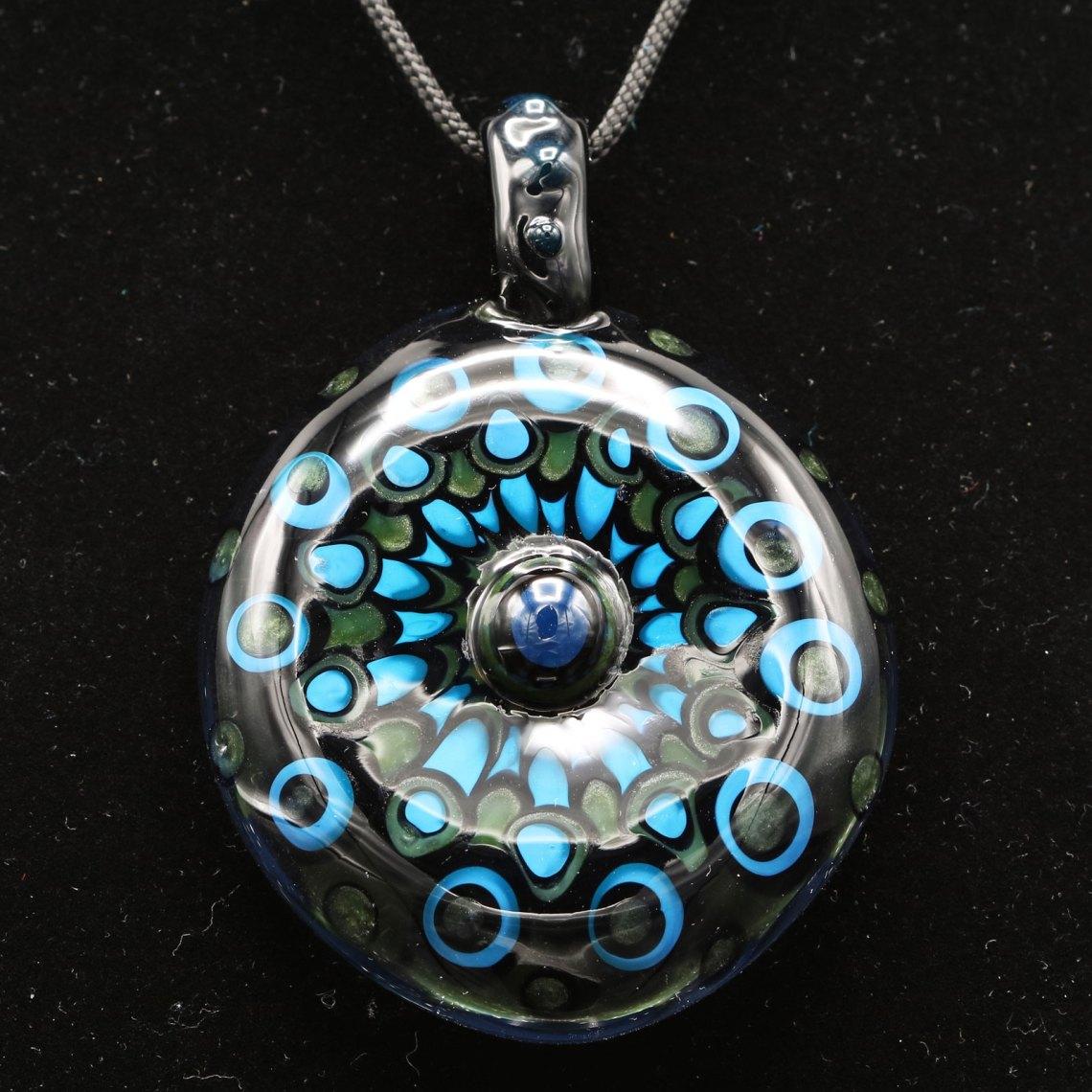 Kiebler – Blue XL Peacock Dotstack Pendant
