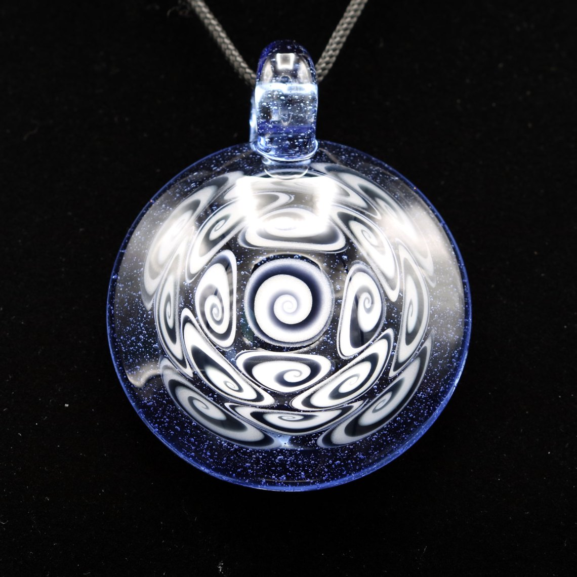 Kaja Glass – 17 Section XXL Bluemingo Microspiral Glass Pendant