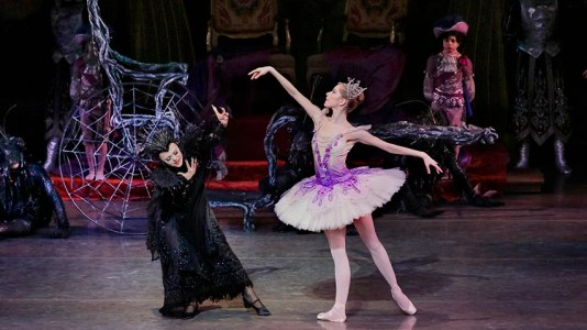 The Lilac Fairy vanquishes the evil Carabosse in The Sleeping Beauty