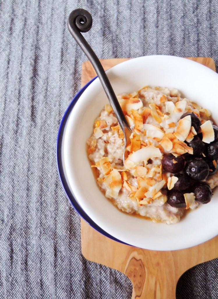 blueberries and coconuts with spoon