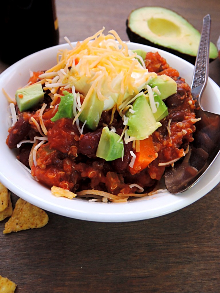 quinoa vegetarian chili bowl