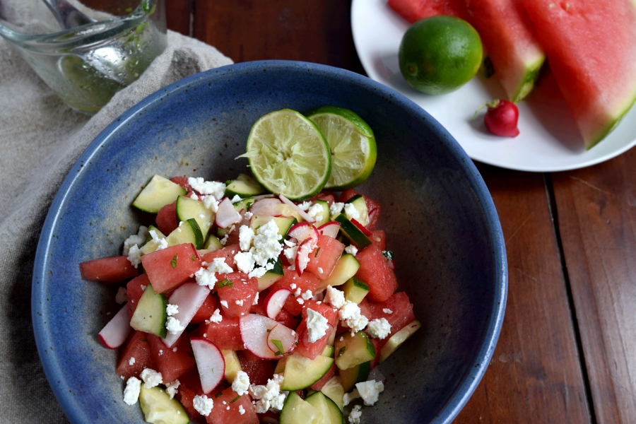 my watermelon cucumber salad with a lime cilantro vinaigrette .1