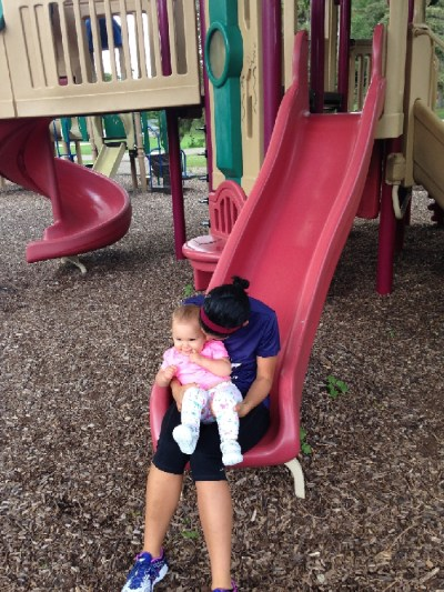slide with baby
