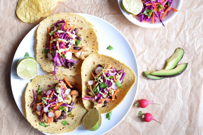 cauliflower and black bean tacos #vegan #dairyfree #glutenfree#20midinner