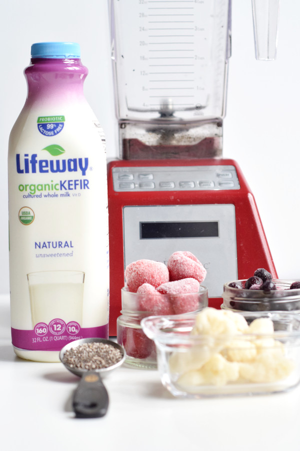 Berry Cauliflower Smoothie and Lifeway Kefir