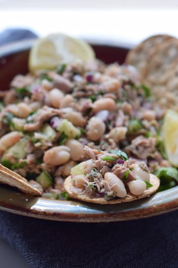 Tuna, white bean and parsley salad #glutenfree #dairyfree#easy
