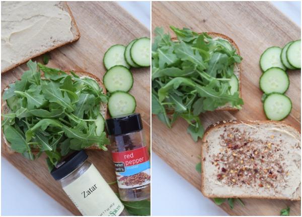 5 minute hummus and cucumber lunch sandwich #vegan #glutenfree #dairyfree