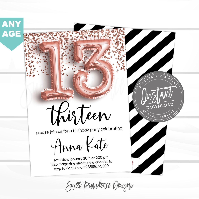 13th birthday invitation any age editable birthday invitation rose gold glitter surprise teen 13 12 11 printable invite instant access