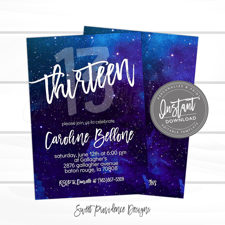13th birthday invitation editable any age birthday invite template thirteen galaxy surprise printable instant access