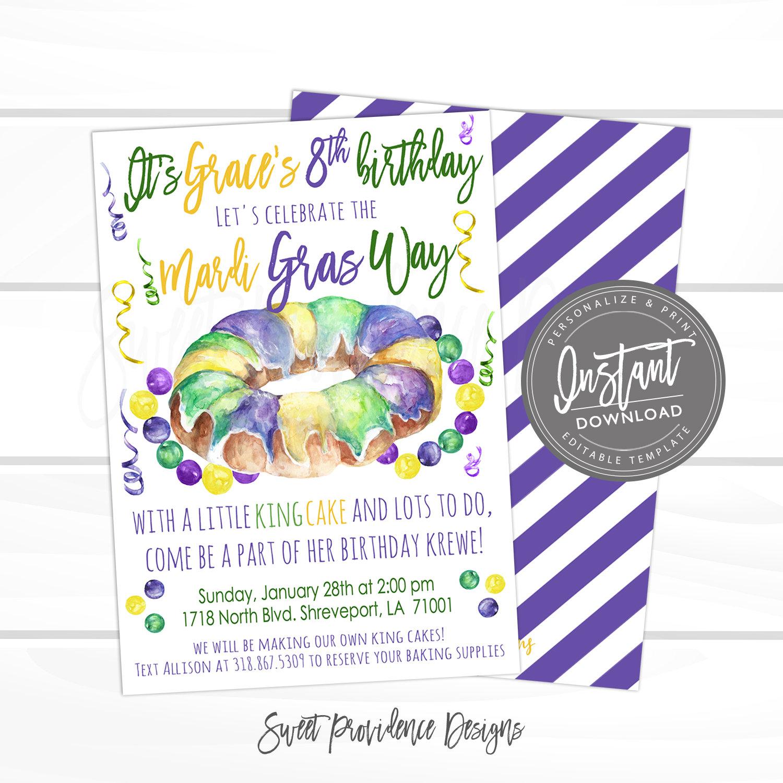 mardi gras king cake invitation mardi gras celebration editable birthday party template mardi gras way birthday party instant access