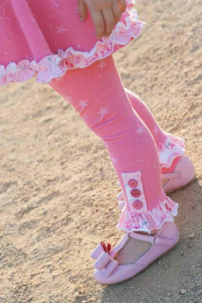 Simple Life Pattern Company PDF Sewing Pattern Sarah Ann's leggings in Sarah Jane Magic Knit with Joyfolie shoes.