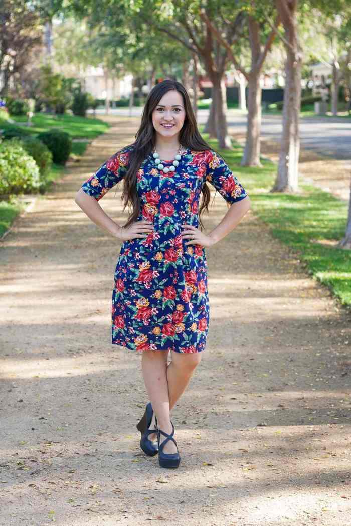 Hey June Handmade Charleston Dress with pockets in LA Finch Fabric Floral Ponte De Roma