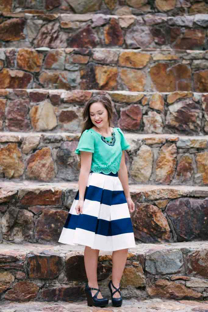McCalls m6706 Simplicity 1693 Joanns fabrics blue and white striped skirt green scalloped top laser cut fabric PDF sewing pattern