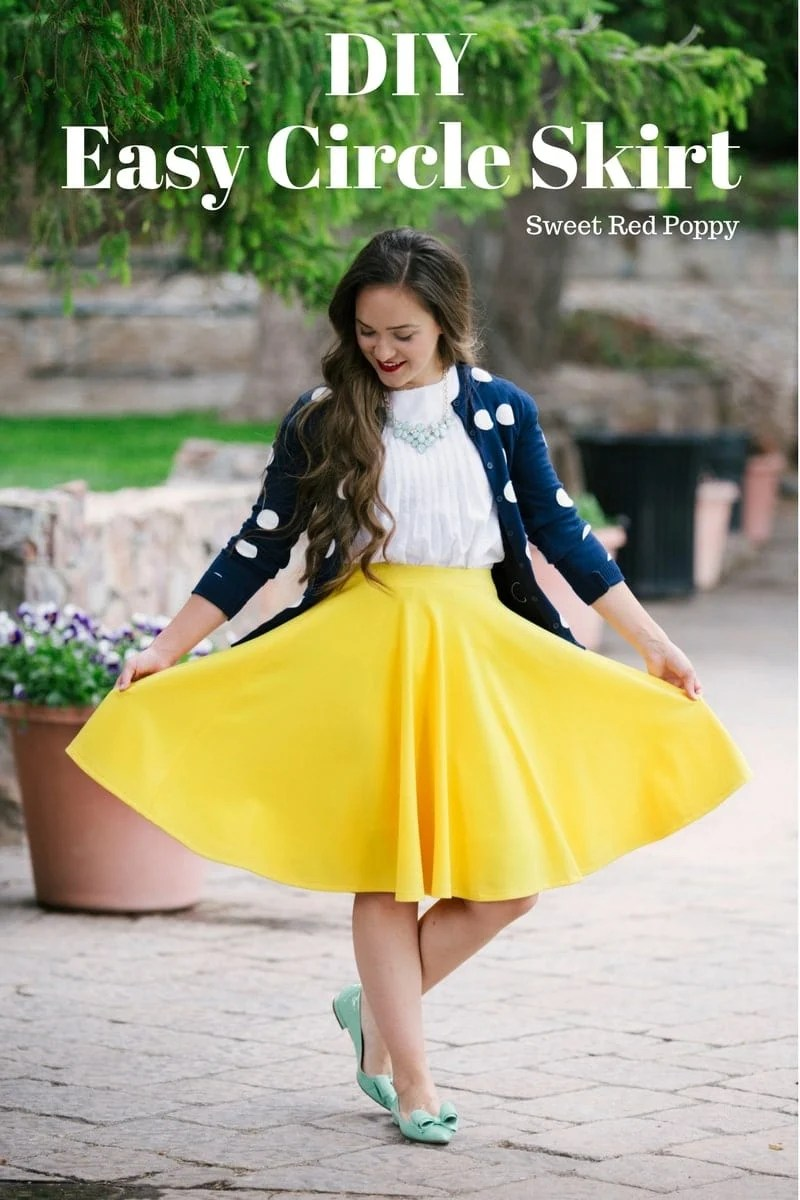 Knit fabric circle skirt tutorial sweet red poppy easy circle skirt tutorial free pdf pattern yellow skirt beginner friendly bankloansurffo Image collections