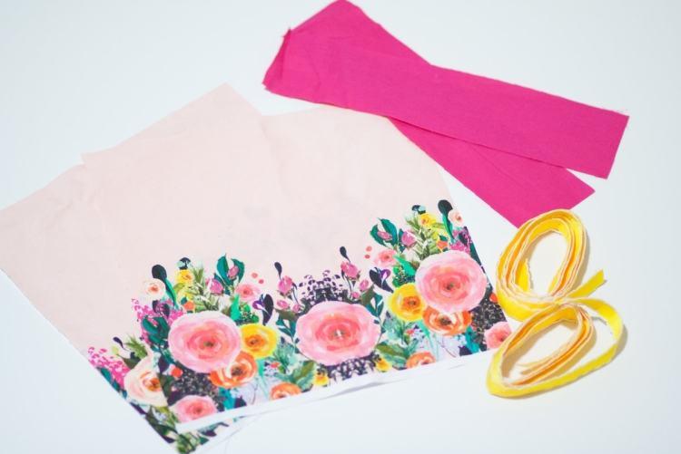 Sweet Red Poppy Sewing Drawstring Bag tutorial Spoonflower