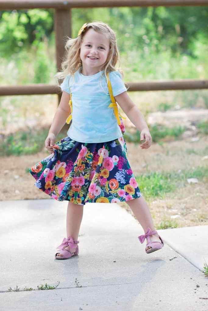 DIY Girls Circle Skirt Sewing Tutorial using Spoonflower Watercolor Fabric