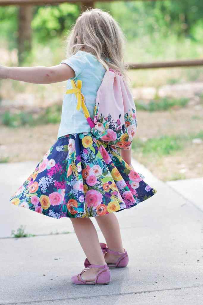 DIY Girls Circle Skirt Sewing Tutorial using Spoonflower Watercolor Fabric