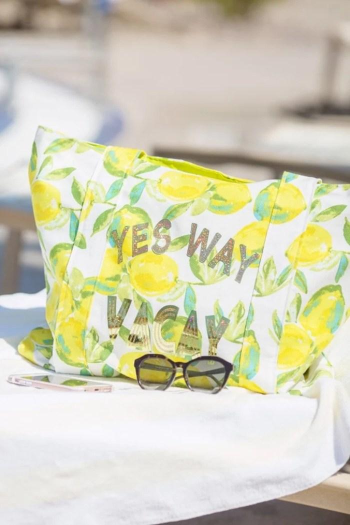 DIY HTV Iron-On Vacation Bag tutorial Lily Shine Creates
