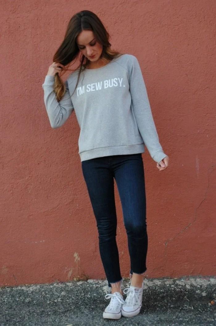 The Sara Project I'm Sew Busy Cricut HTV Sweater