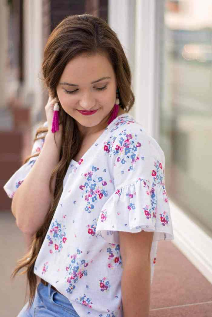 Blue Carolina Fabric from Riley Blake Designs Grainline Scout Tee with Ruffle Sleeves PDF Pattern