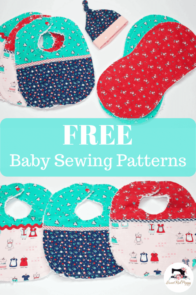 Free Easy Baby Sewing Patterns and Tutorials | Bib, Burp Cloth & Hat