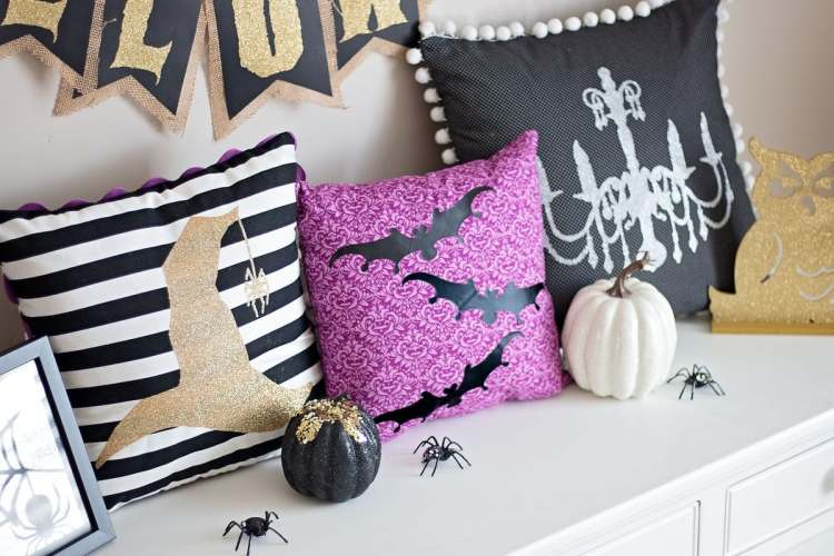 DIY Halloween Easy Pillows with Invisible Zipper Cricut Maker Tutorial Iron-On Easy Press