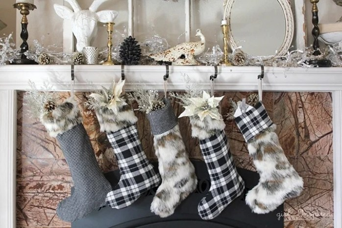 Girl Inspired Modern Christmas Fur and Plaid Stockings Sewing Tutorial