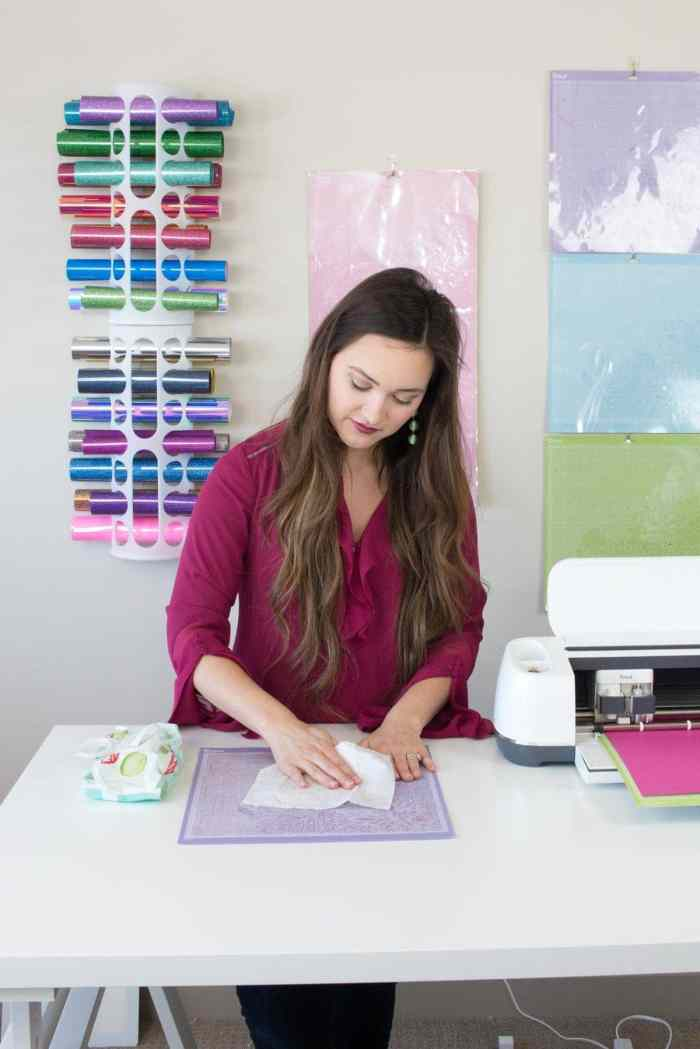 Clean a Cricut Mat with Baby Wipes