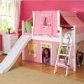 Low loft bed w slide by maxtrix kids p g y bottom pink top 320 2