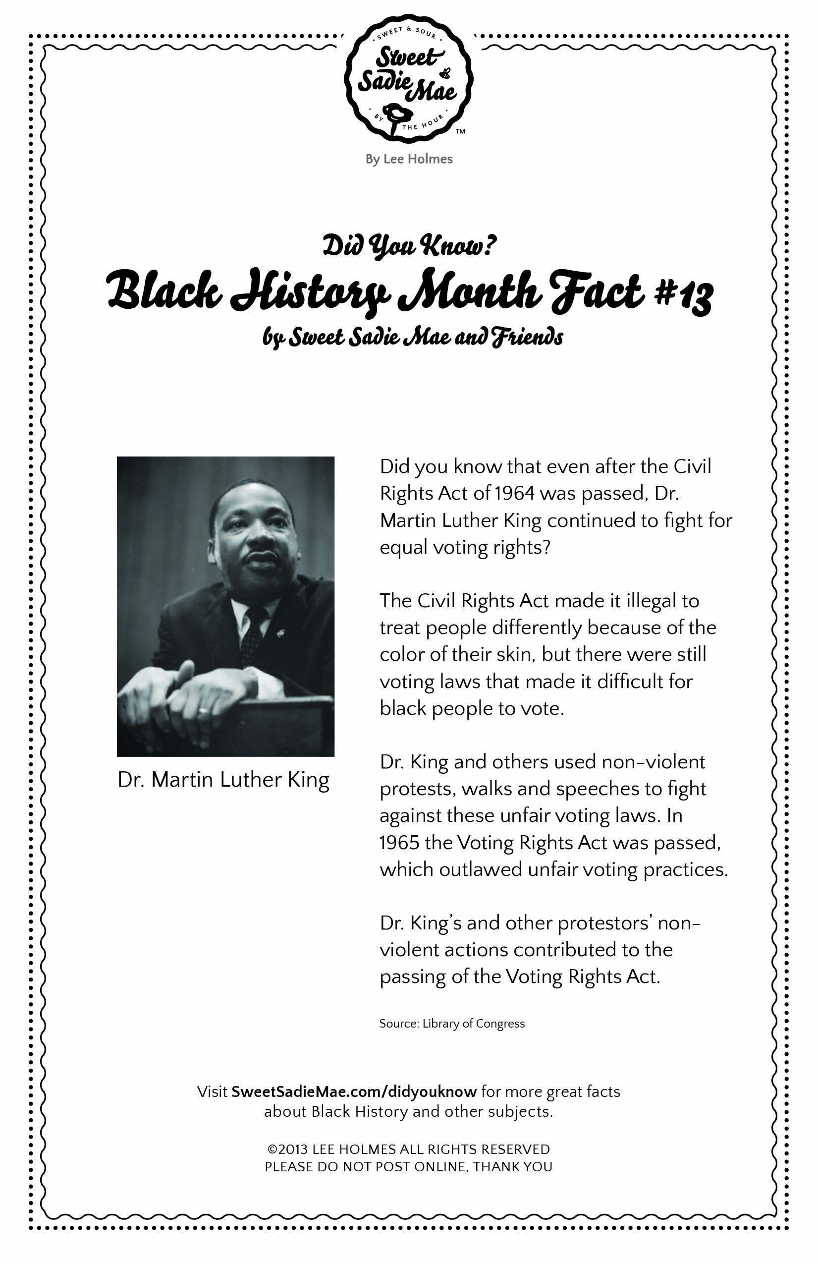 Civil Rights Act Amp Voting Rights Act Dr Martin Luther King Black History Month Fact 13