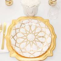 Scalloped Paper Dinner Plate - Marble Gold