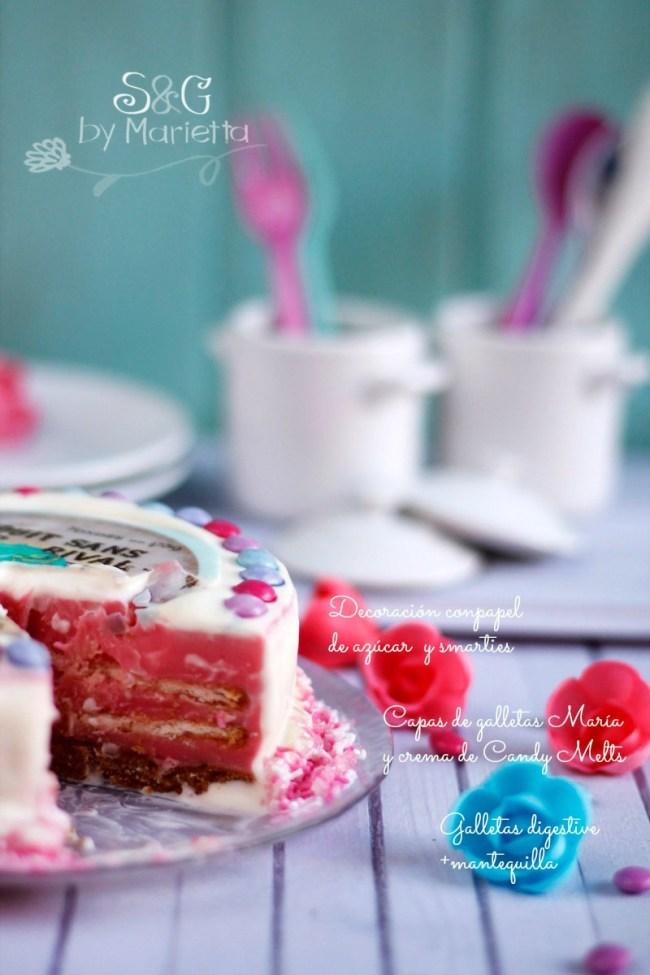 Tarta galletas Candy Melts y Smarties, Sweets and Gifts, Marietta, Murcia, bloguera murciana, reto que rico mami, recetas para niños, recetas románticas, tarta vintage, Candy Melts