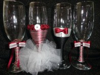 Handmade champagne toasting flutes (white and cherry-red) on Facebook page - set of four
