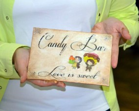final product and messy hands :) candy bar sign