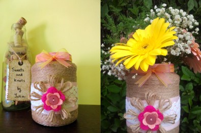 pink and yellow bow vase