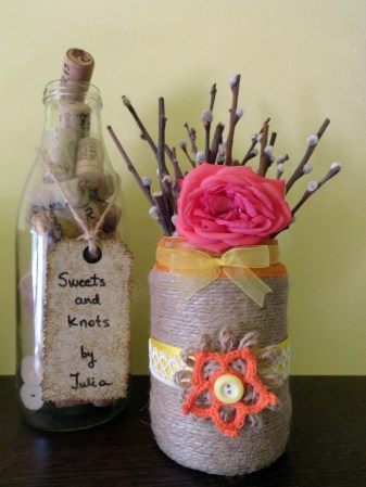 yellow and orange flower vase - twine and lace