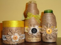 twine and lace flower vases- yellow and black trio 2