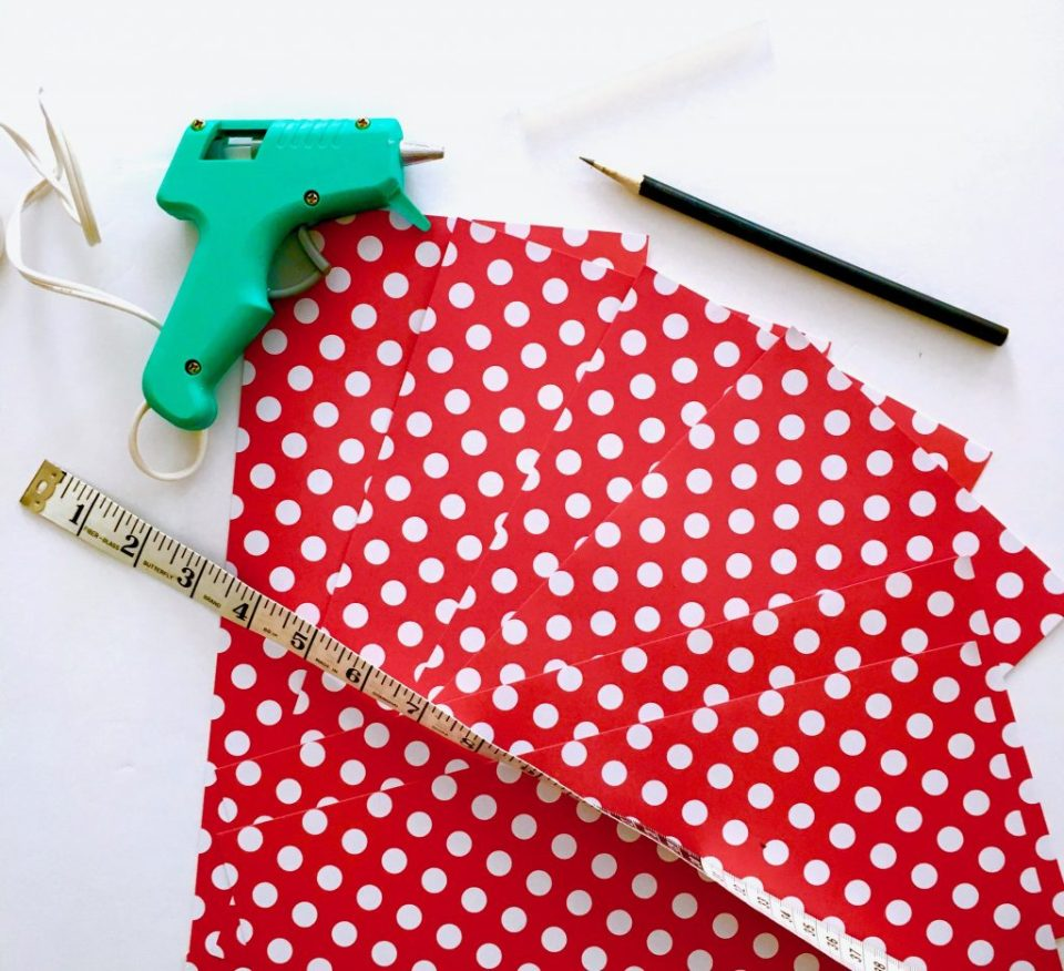Glue gun, paper, measuring tape, pencil