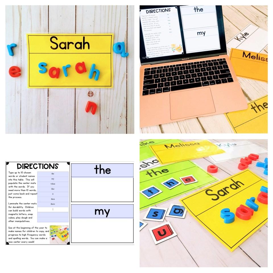 Editable word mats for literacy centers