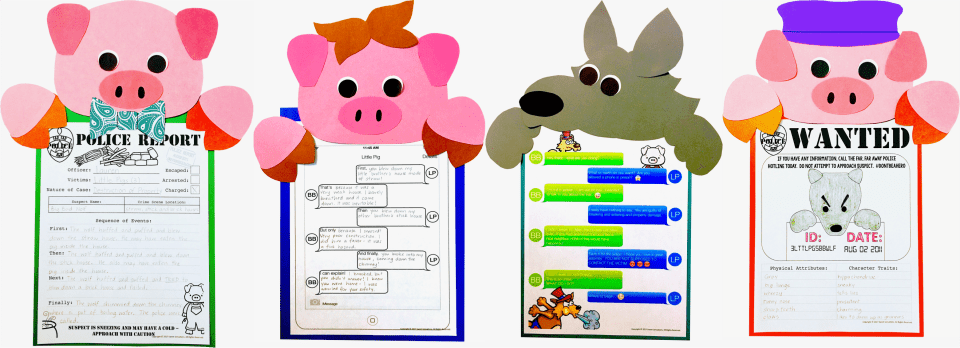 Fractured fairy tales Three Little Pigs and the Big Bad Wolf craft and writing activity.