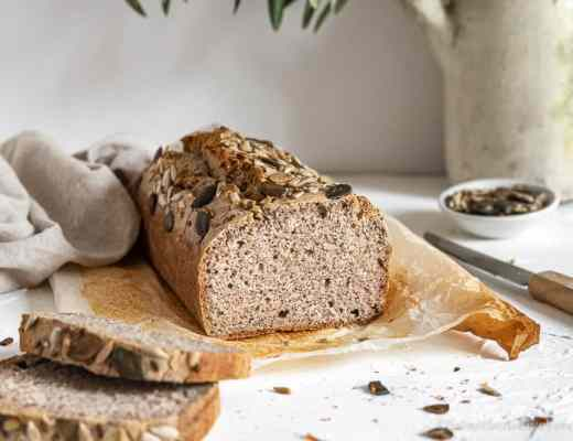 sliced gluten free buckwheat bread loaf.
